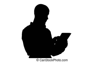 Silhouette Handsome arabic business man using tablet. -...