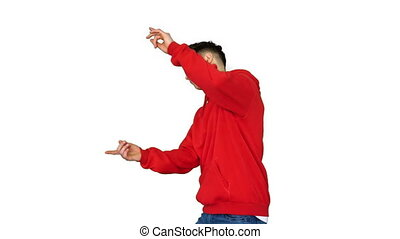 Trendy dancer man walking and dancing on white background...
