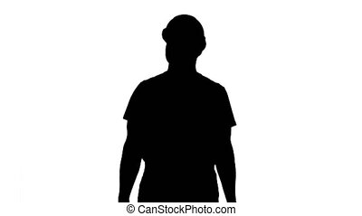 Silhouette Architect or engineerpresenting new house or building.