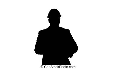 Silhouette Concept of start up business, architects, engineer holding blueprint in the office or construction site and walking.