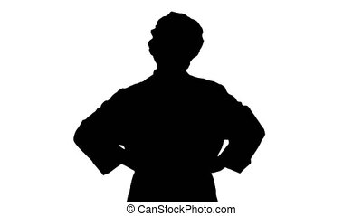 Silhouette Female geek doctor with hands on hips. - Medium ...