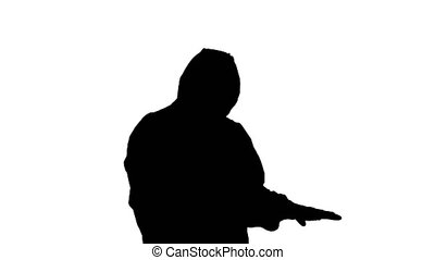 Medium shot. Silhouette James Bond parody. Doctor checking temperature. Professional shot in 4K resolution. 53. You can use it e.g. in your medical, commercial video, business, presentation, broadcast