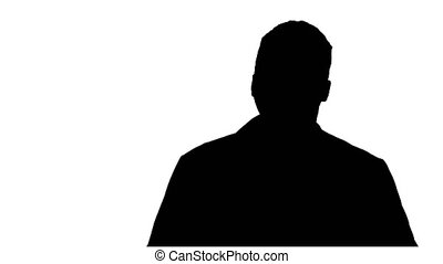 Silhouette Male African Doctor Standing With Hands In His Pockets.