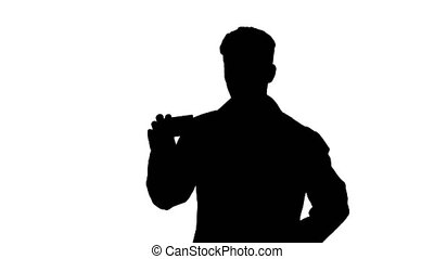 Silhouette Medical doctor holding a box of pills promoting them and dancing.