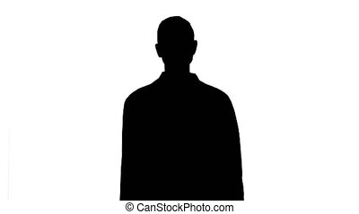 Silhouette Medical doctor woman going straight. - Medium...