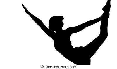 Silhouette Yoga teacher practising pose dandayamana...