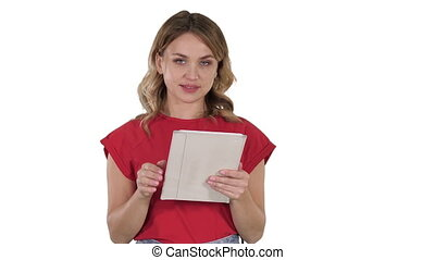 Smiling woman with tablet computer presenting turning pages on white background.