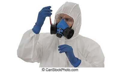 Virologist looking at blood test Coronavirus infection concept on white background.