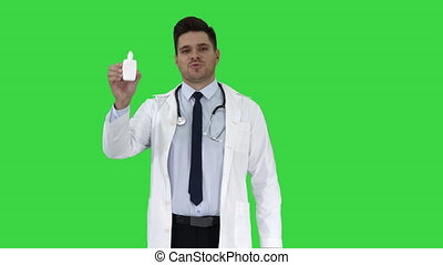 Doctor presenting nasal spray or some other medicine on a...