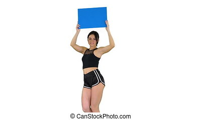 Medium shot. Walking in and out of the frame. Ring girl walking holding empty board presenting new round on white background. Professional shot in 4K resolution. 021. You can use it e.g. in your commercial video, business, presentation, broadcast