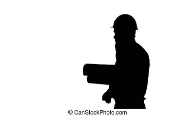 Silhouette Engineer talking on phone with paperwork. -...