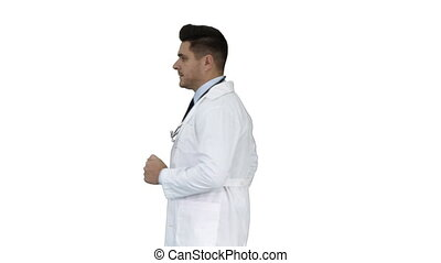 Walking male doctor passing by on white background.