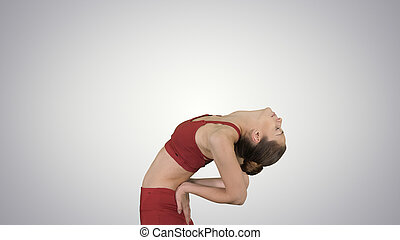 full length shot young yogi woman practicing yoga concept