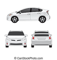 Medium size city car three side views vector illustration. Isolated on white.