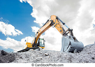 Medium sized excavator at work