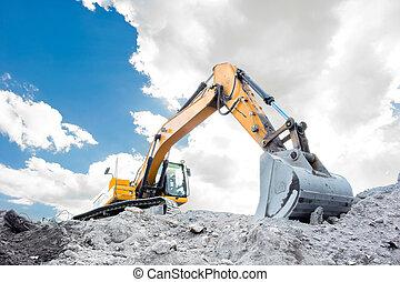 Medium sized excavator at work