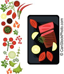 Medium Steak on Plate. Vector Illustration