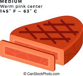 Medium steak vector flat icon - Medium Warm pink center ...