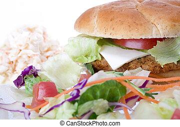 Veggie Burger - Medium studio shot of Veggie Burger, salad...