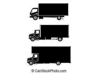 Medium truck. Three silhouettes of medium trucks on a white background. Side view. Flat vector.
