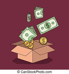 medium violet red color background with cardboard box with bills and coins falling inside her