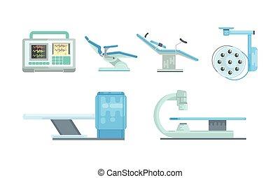 medizin, betrieb, ausrüstung, chirurgie, prüfung, monitor, vektor, tisch, scanner, satz, zimmer