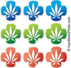 medizin, cannabis, aufkleber, vektor