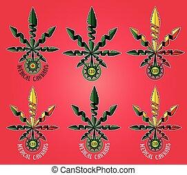 medizin, cannabis, marijuana blatt
