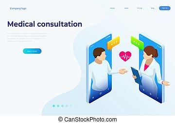 medizin, concept., characters., diagnose, banner, sorgfalt, online, versicherung, consultation., gesundheit, prescription., isometrisch, begriff