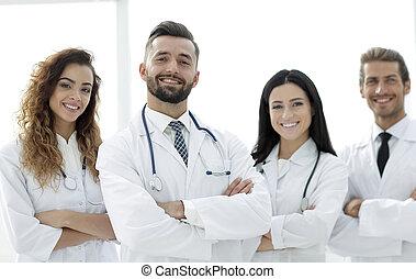 medizin, group., freigestellt, hintergrund., doktoren, weißes