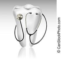 medizin, hintergrund, mit, zahn, und, a, stethoscope., begriff, von, diagnostics., vektor