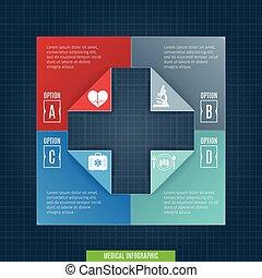 medizin, infographic, schablone