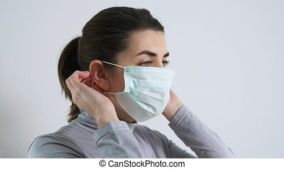 medizin, junger, tragen, frau, maske, schützend