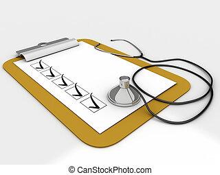 medizin, klemmbrett, mit, prüfliste, papier, für, nachrichten, und, a, stethoskop