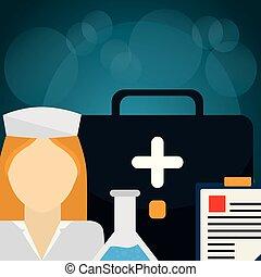 medizin, krankenschwester, satz