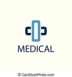 medizin, kreuz, apotheke, ikone, logo, template.