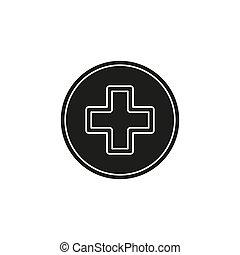 medizin, -, kreuz, zeichen, vektor, plus, healthcare, symbol