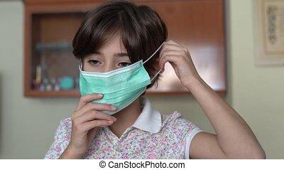 medizin, m�dchen, setzen, daheim, gegen, coronavirus., ...