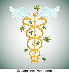 medizin, marihuana, caduceus