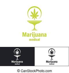 medizin, marihuana, logo