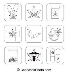 medizin, marihuana, satz