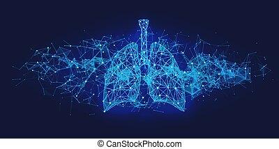 medizin, menschliche , blaues, lungen, begriff, zukunftsidee