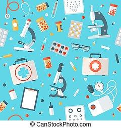 medizin, pattern., seamless, füllen, gesundheit, hintergrund, werkzeuge, sorgfalt