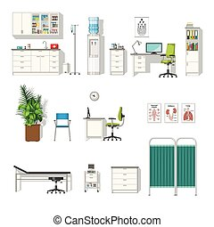 medizin, satz, verschieden, möbel