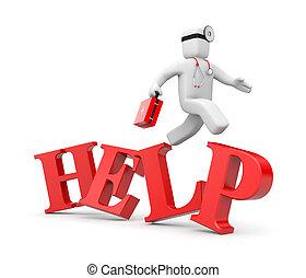 mediziner, hastens, zu, der, hilfe