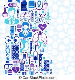 medizinisch gesundheit, sorgfalt, seamless, pattern.
