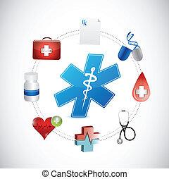 medizinische ikon, vernetzung, anschluss, abbildung