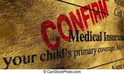 medizinische versicherung, bekräftigen
