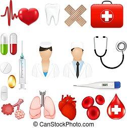 medizinische werkzeuge, equipments, heiligenbilder