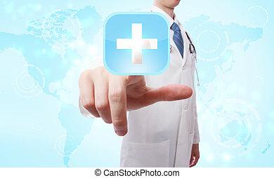 medizinischer doktor, anschieben, blaues kreuz, ikone